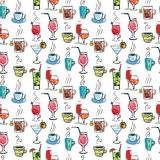 Seamless pattern with various drinks and cocktails. Pattern with various drinks and cocktails. Abstract vector background Stock Photography