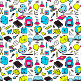 Seamless pattern with various elements for school Stock Photography