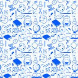 Seamless pattern with various elements for school Royalty Free Stock Images
