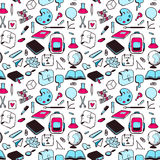 Seamless pattern with various elements for school Stock Images