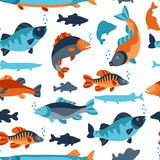 Seamless pattern with various fish. Background made without clipping mask. Easy to use for backdrop, textile, wrapping Stock Photos