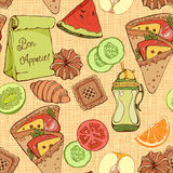 Seamless pattern of various food items Royalty Free Stock Image