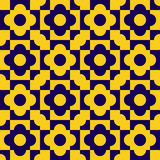 Seamless pattern with various geometric shapes of yellow and blue shades Stock Image