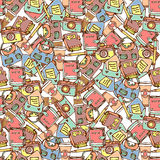 Seamless pattern with various girly teens staff Royalty Free Stock Photography