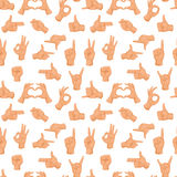 Seamless pattern with various hands gestures dumb background mute inarticulate unlanguaged vector illustration. Stock Images