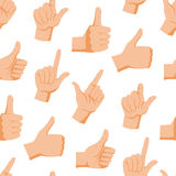 Seamless pattern with various hands gestures dumb background mute inarticulate unlanguaged vector illustration. Royalty Free Stock Photo