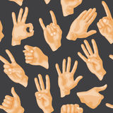 Seamless pattern with various hands gestures dumb seamless pattern background people communication sign symbols vector Stock Photography