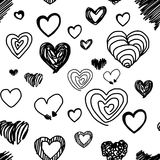 Seamless pattern various heart design - vector illustration hand. Drawn with black lines,  on white background Stock Images