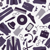 Seamless pattern with various hipster elements Royalty Free Stock Photo