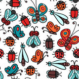 Seamless pattern with insects Royalty Free Stock Photography