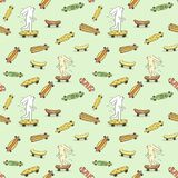 Seamless pattern with various longboards stock images