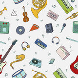 Seamless pattern with various musical instruments, symbols, objects and elements. Colorful illustration Stock Image