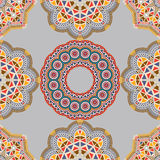 Seamless pattern with various Oriental motifs and elements. Seamless pattern with elements of Mandala style Stock Images