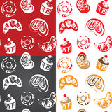 Seamless pattern with various pastries Stock Photos