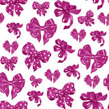 Seamless pattern with various pink satin bows. Watercolor illustration. Seamless pattern with various hand drawn bows. watercolor illustration Royalty Free Stock Photography