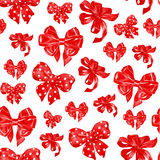 Seamless pattern with various red satin bows. Watercolor illustration. Seamless pattern with various hand drawn bows. watercolor illustration Royalty Free Stock Image