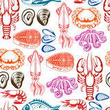 Seamless pattern with various seafood. Illustration of fish, shellfish and crustaceans Royalty Free Stock Image