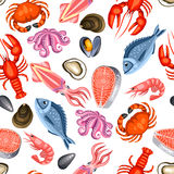 Seamless pattern with various seafood. Illustration of fish, shellfish and crustaceans Stock Photography