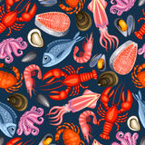 Seamless pattern with various seafood. Illustration of fish, shellfish and crustaceans Stock Images