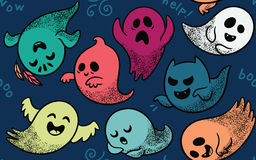 Seamless pattern with various spooky ghosts. Cute spooky ghosts on dark blue background. Seamless vector Halloween pattern with ghosts child drawing style Stock Images