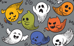 Seamless pattern with various spooky ghosts. Cute spooky ghosts on dark blue background. Seamless vector Halloween pattern with ghosts child drawing style Stock Image