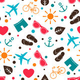 Seamless pattern with various summer elements stock illustration