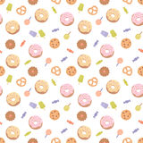 Seamless pattern with various sweets Royalty Free Stock Photo