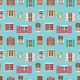 Seamless pattern with various type house window frame and balconies Royalty Free Stock Photography