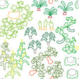 Seamless vegetable garden pattern. A seamless pattern with various vegetables Royalty Free Stock Photo