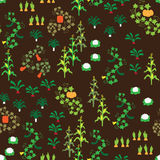 Seamless vegetable garden pattern. A seamless pattern with various vegetables Stock Image