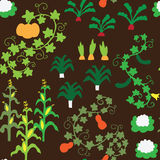 Seamless vegetable garden pattern. A seamless pattern with various vegetables Stock Photo
