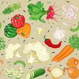 Vegetables mix. Vector seamless pattern with various vegetables Royalty Free Stock Photos