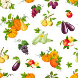Seamless pattern with various vegetables and fruits. Vector illustration. Stock Photos