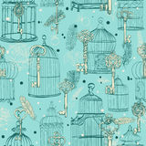 Seamless pattern of various vintage keys and cages Stock Photography