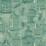 Seamless pattern of various vintage keys and cages Stock Photos