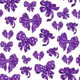 Seamless pattern with various violet satin bows. Watercolor illustration. Seamless pattern with various hand drawn bows. watercolor illustration Royalty Free Stock Photos