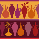 Seamless pattern of vases Stock Image