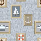 Seamless pattern. Vector. Marine seamless pattern. Vector illustration Stock Photo