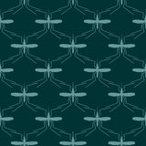 Seamless pattern. Vector abstract background. Mosquito silhouette icons
