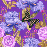 Seamless pattern. Vector seamless background with irises and butterfly. Design for fabrics, textiles, paper, wallpaper, web Royalty Free Stock Photography