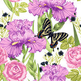 Seamless pattern. Vector seamless background with irises and butterfly. Design for fabrics, textiles, paper, wallpaper, web. Vintage style Stock Photo