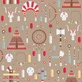Seamless pattern of vector colorful ethnic set Royalty Free Stock Photos