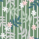 Seamless pattern vector of colorful flowers and leaves on green pastel tone, for textile, decoration and/or surface design. Beautiful floral pattern Royalty Free Stock Photo