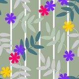 Seamless pattern vector of colorful flowers and leaves on green pastel tone, for textile, decoration and/or surface design. Beautiful floral pattern Stock Photos