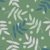 Seamless pattern vector of colorful flowers and leaves on green pastel tone, for textile, decoration and/or surface design. Beautiful floral pattern Royalty Free Stock Image