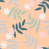 Seamless pattern vector of colorful flowers and leaves on orange pastel tone, for textile, decoration and/or surface design. Beautiful floral pattern Stock Photos