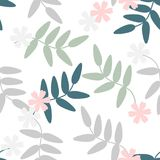 Seamless pattern vector of colorful flowers and leaves on white tone, for textile, decoration and/or surface design. Beautiful floral pattern Royalty Free Stock Photos