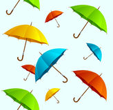Seamless pattern Vector colorful umbrellas flying Royalty Free Stock Images
