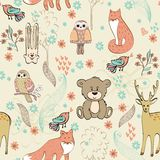 Seamless pattern. Vector cute children seamless pattern with animals Royalty Free Stock Photography