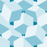 Seamless pattern vector 3d cube, abstract illustration. Blue soft colors Stock Photography